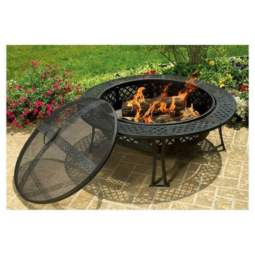 CobraCo Diamond Mesh Fire Pit with Screen and Cover FB8008